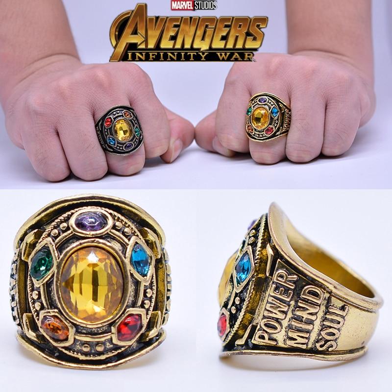 Filme vingadores: endgame thanos power ring cosplay infinito gauntlet anel zircon men halloween adereços