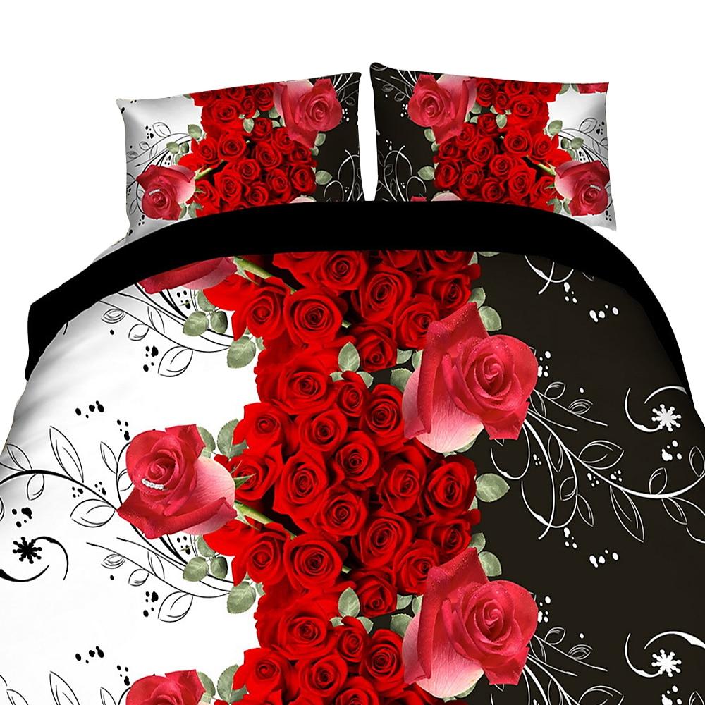 Urijk Bedding Set Flower Rose Print Luxury Bed Linen For Duvet Cover Pillowcase Bedclothes Room Decoration Home Textile 3/4PCS