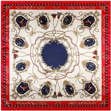 MENGLINXI 90cm * 90cm 2020 nouvelle marque de luxe Twill femmes foulard en soie chaîne glands imprimer carré foulards enveloppes mode Hijab bandeau