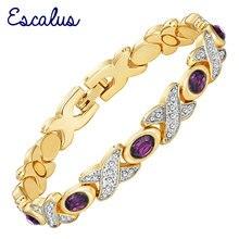 Bracelets femmes Escalus Violet pierres violettes couleur argent or 2 tons Bracelet magnétique cadeau bijoux Bracelet breloque