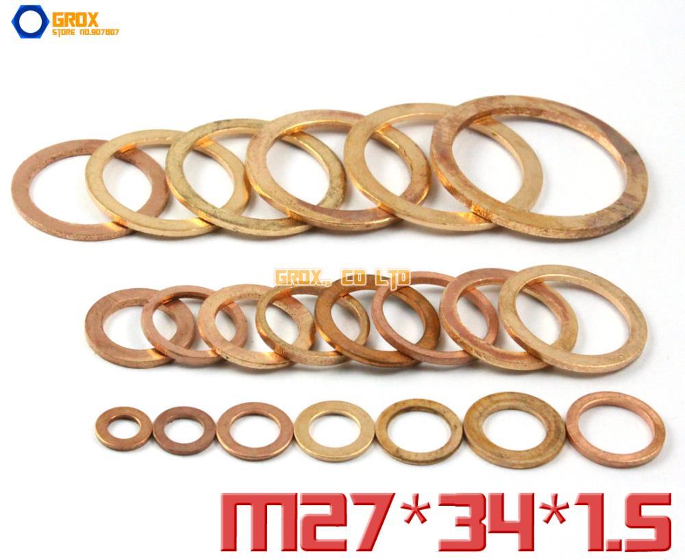 20 piezas M27 x 34x1,5mm cobre arandela plana sello arandela