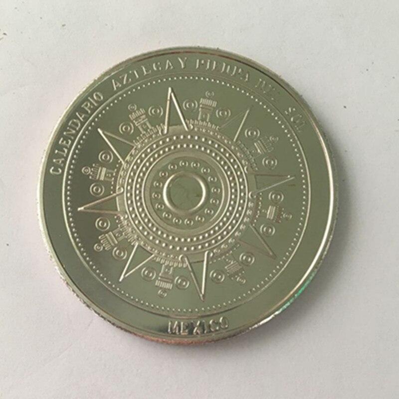 10 Uds. Insignia azteca del calendario maya Placa plateada SOL 40 mm souvenir casa coleccionable decoración moneda