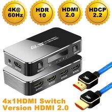 2020 Navceker HDR HDMI 2.0 HDMI Switch Supporto HDCP 2.2 e Telecomando IR 1x4 Mini HDMI Switch Switcher 18Gbps Switch HDMI 2.0 HUB Box