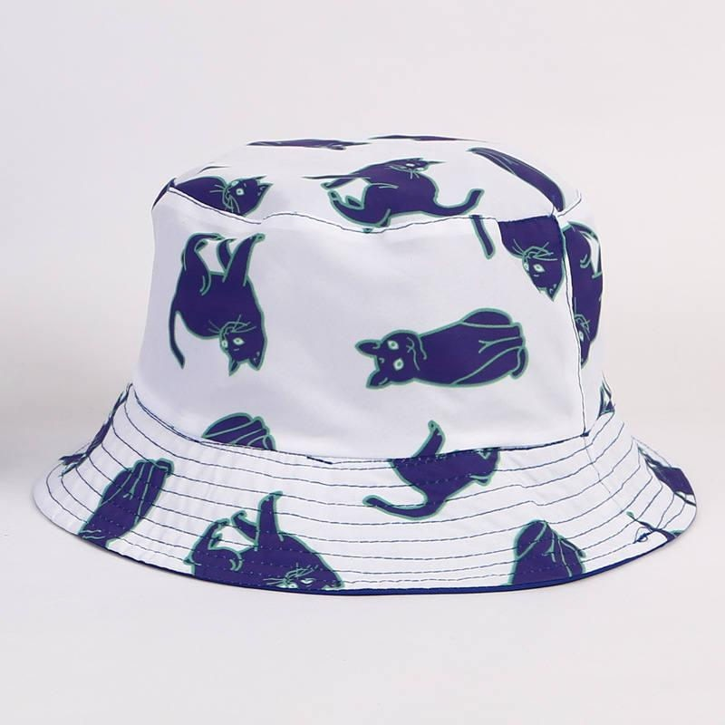 LDSLYJR Cotton Cat print Bucket Hat Fisherman Hat outdoor travel hat Sun Cap Hats for Men and Women 358