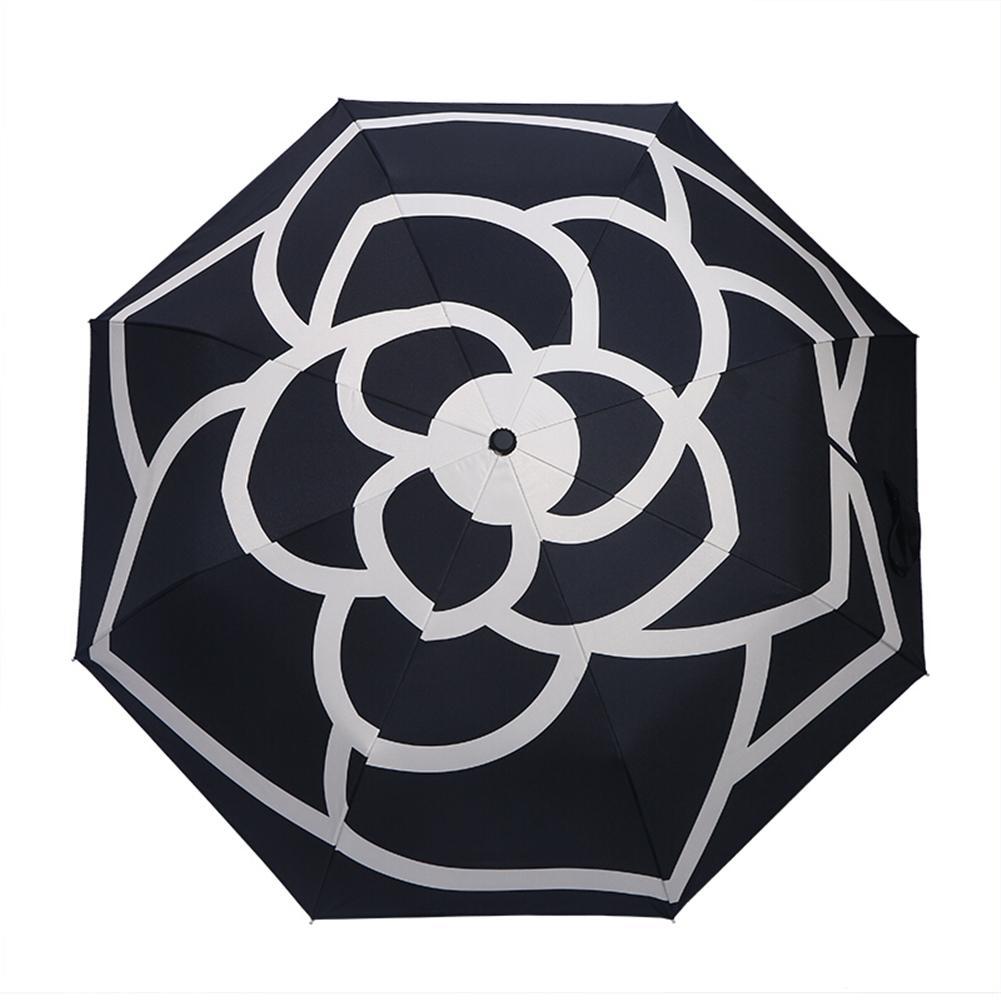 Camelia automática sol lluvia paraguas viajes portátil y ligero paraguas Parasol plegable chicas anti-UV impermeable