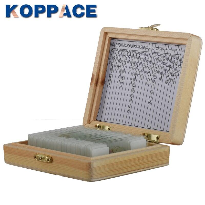 Paquete de caja de madera para toboganes de tejido biológico de 25 rebanadas de KOPPACE para microscopio biológico básico de educación de ciencia biológica