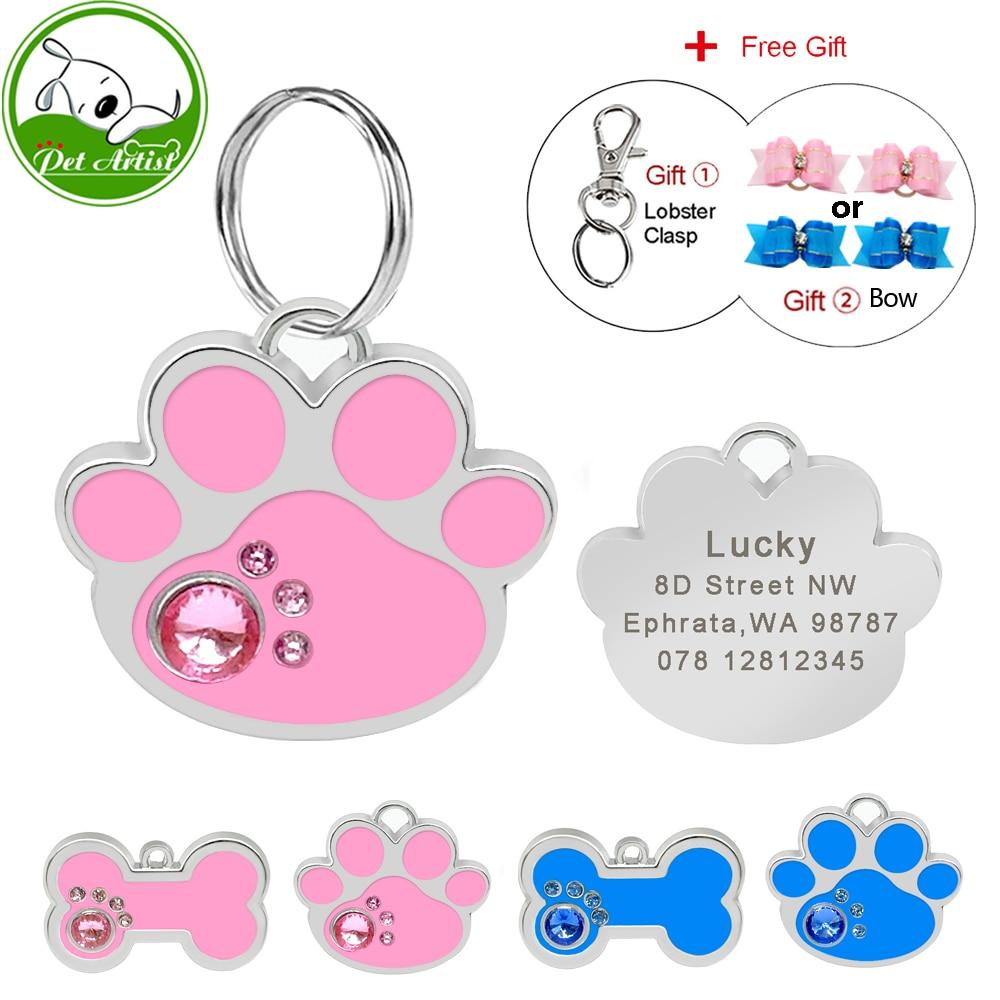 Персонализированные Выгравированные кошечки для собак, персонализированные кость с лапами в форме кошечки, розовые, синие, со стразами