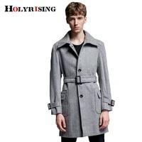 holyrising classic men wool coats casual mens overcoat turn collar male coats slim streetwear hot with belt size s 6xl 18631 5