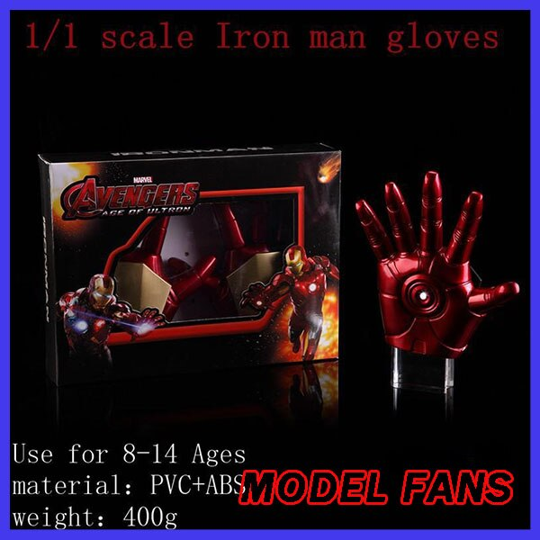 Guantes de Iron Man MK3 para fanáticos del modelo, envío gratuito, guantes de Iron Man, versión perfecta, luz LED móvil 11, figuras de acción de juguete, juguetes clásicos