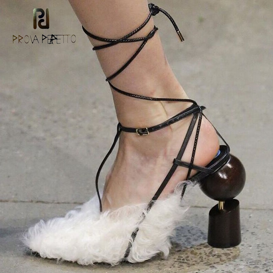 Prova Perfetto personality catwalk ladies pumps wool fur pointed toe geometric design high heel wedding shoes cross tied sandals