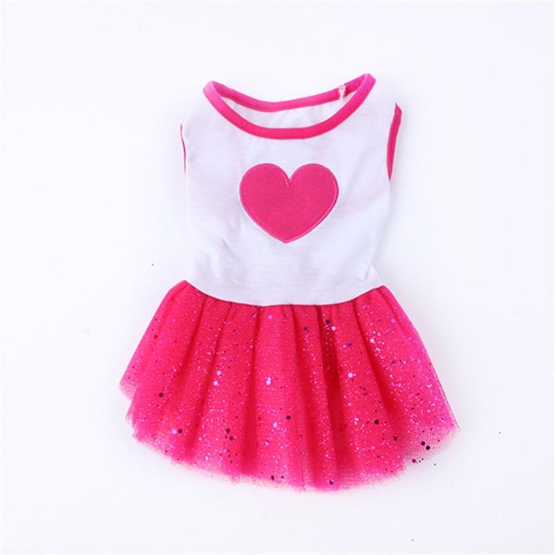 Dog Heart Print Tutu Dress Lace Skirt Cute Pet Cat Princess Clothes Party Dress