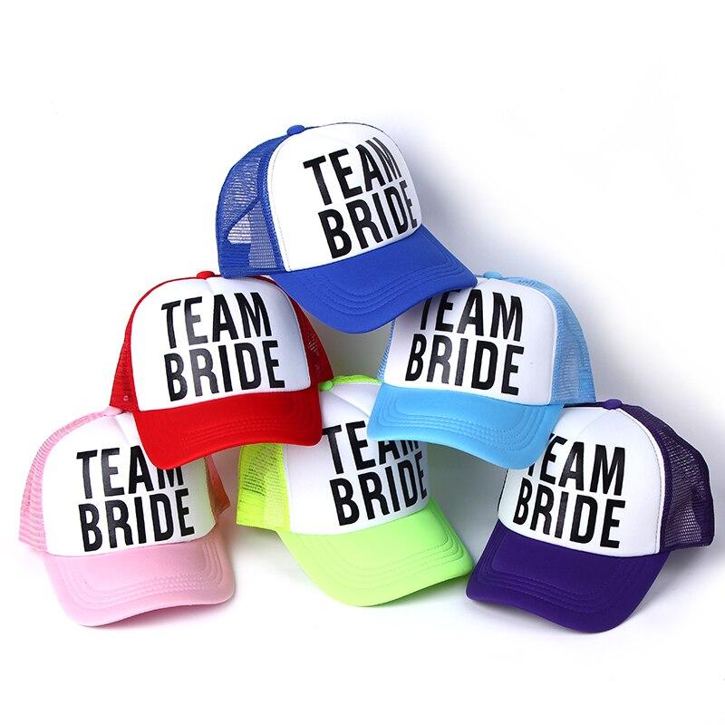 2017 neue BRAUT ZU WERDEN TEAM BRAUT Bachelorette Hüte Frauen Hochzeit Preparewear Trucker Caps Weiß Neon Sommer Mesh Kostenloser Versand