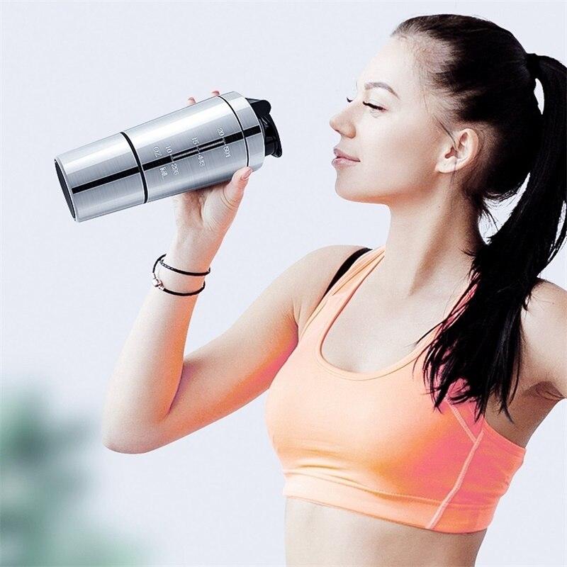 Bouteille secoueuse en acier inoxydable   De haute qualité en acier inoxydable, secoueur sport Fitness bouteille deau en métal tasse thermique mélangeur de protéines