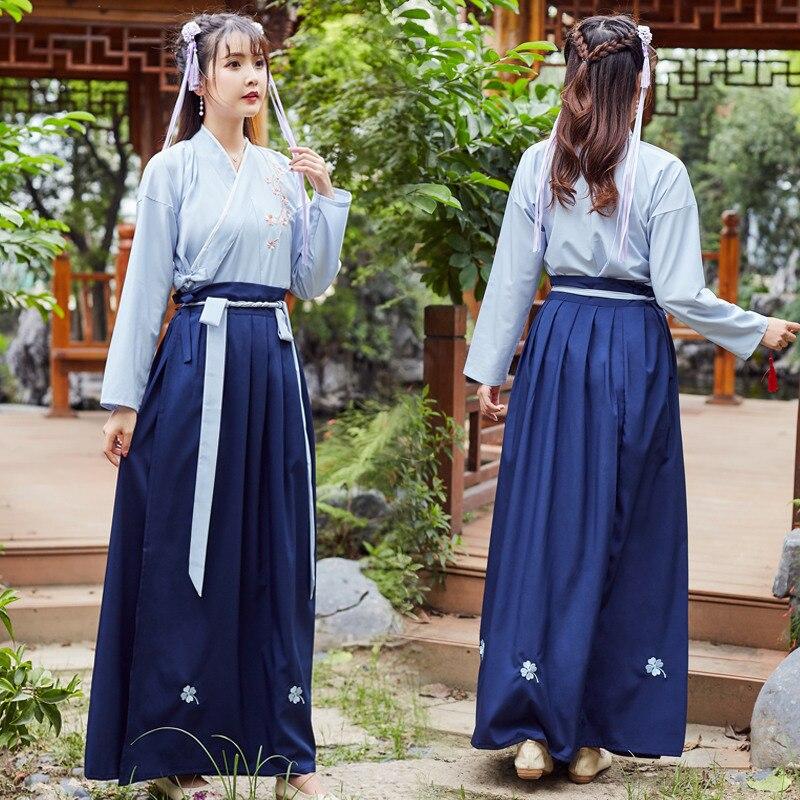 Señoras estilo chino Hanfu vestido tradicional antiguo traje danza folclórica ropa de rendimiento Han Dynasty ropa de danza clásica