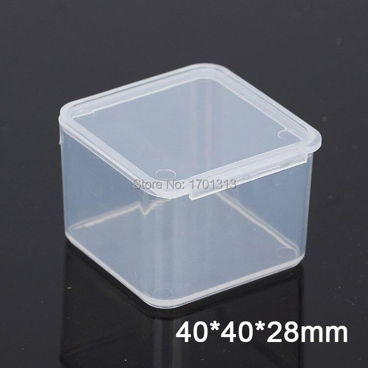 Caja de plástico transparente cuadrada pequeña de 100 Uds caja portaenvases de almacenamiento PP
