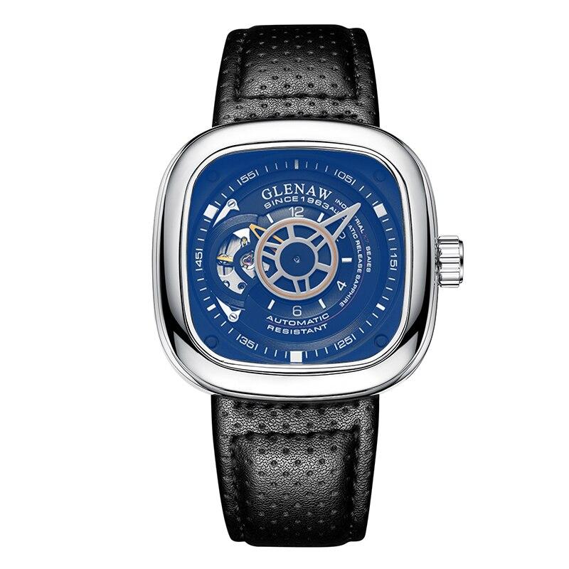 GLENAW Relogio Masculino Leather Hand Clock Men Watch Waterproof Automatic Mechanical Watch Square M