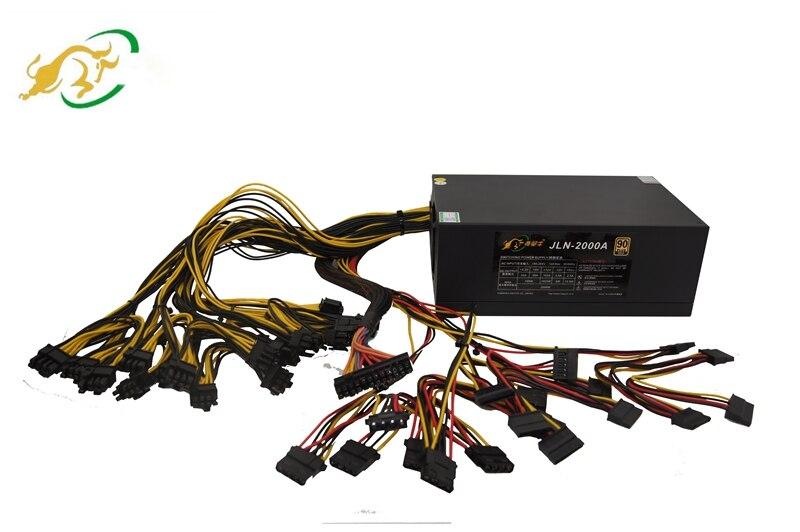 Fuente de alimentación para minería Bitcoin certificado Ethereum 2000W servidor ATX PSU fuente de alimentación para plataforma miner tarjeta gráfica rx 470 570 RX580