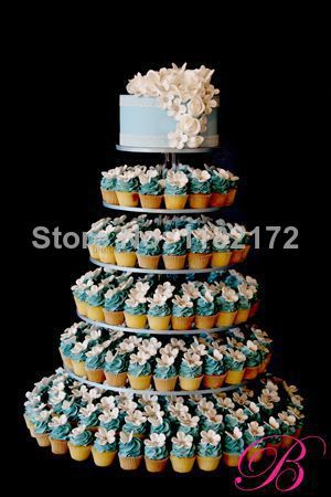 Exquisite clear acrylic cake tower/6 Tier Round Beautiful Acrylic Wedding Cupcake Stand decoration