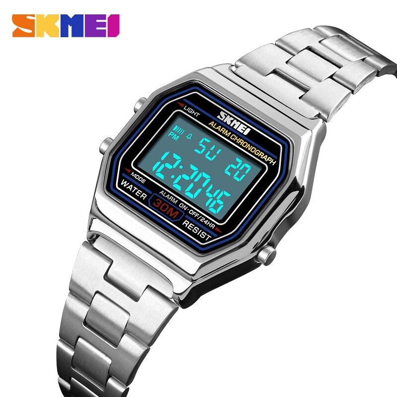 SKMEI Women Watches Digital Sport Watch Luxury Fashion Alarm Clock Stainless Steel Waterproof Ladies Watch relogio feminino 2019