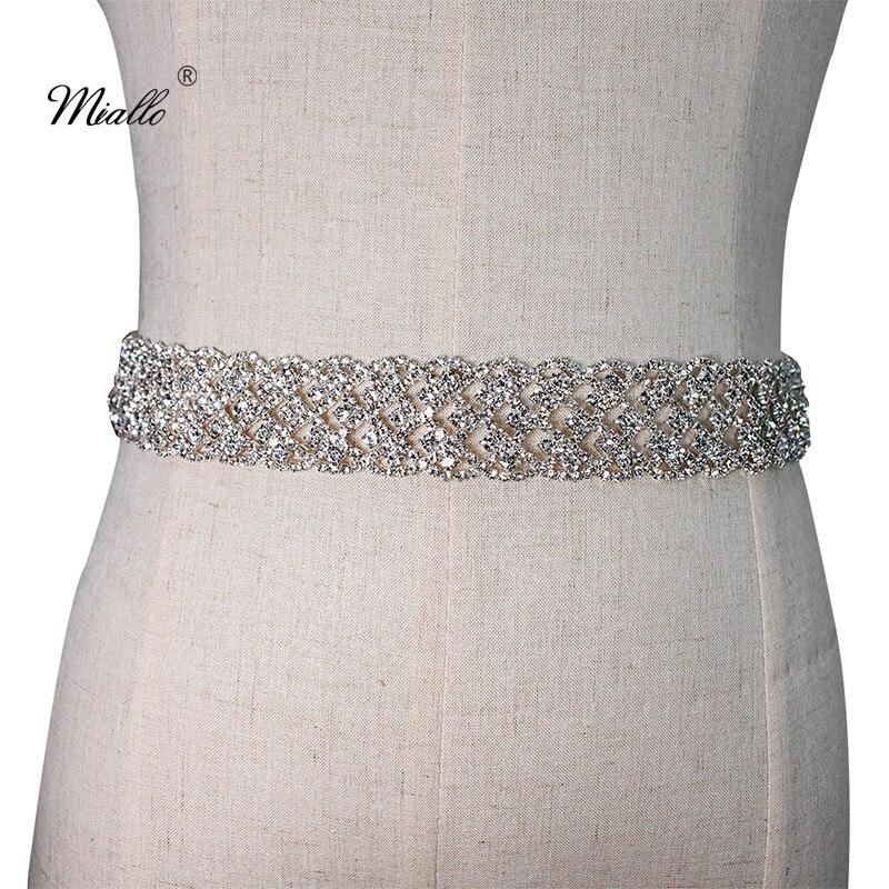 Miallo Fashion Full Diamonds Belt Wedding Crystal Sash Bridal Rhinestone Belt Wedding Dress Accessories