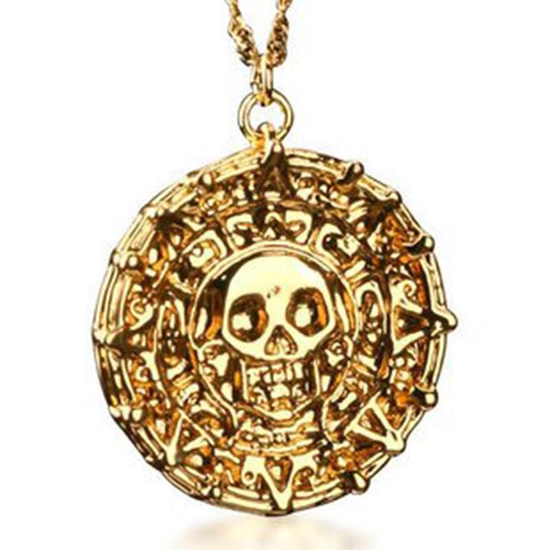 Colar pingente moeda bahamut piratas do caribe, aztec, colar com corrente, joia