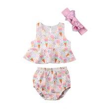 Vêtements pour nouveau-né et fille   3 pièces, sans manches, culottes hauts froncés, Shorts dété, costume de soleil, mignon, pour bébé fille 0-24M