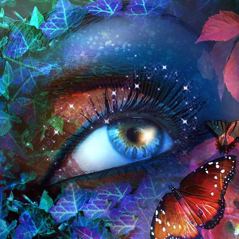 Полный квадрат 3D Diy алмазная живопись рукоделие Алмазная вышивка бабочки глаза настенные наклейки Алмазная мозаика цветное лицо