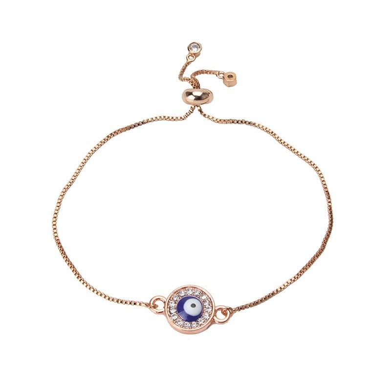 1pc Evil Eye Charms Bracelet Chain Link Bracelet For Women Rose Gold Crystal Pendant Bracelet Lucky Eye Jewelry