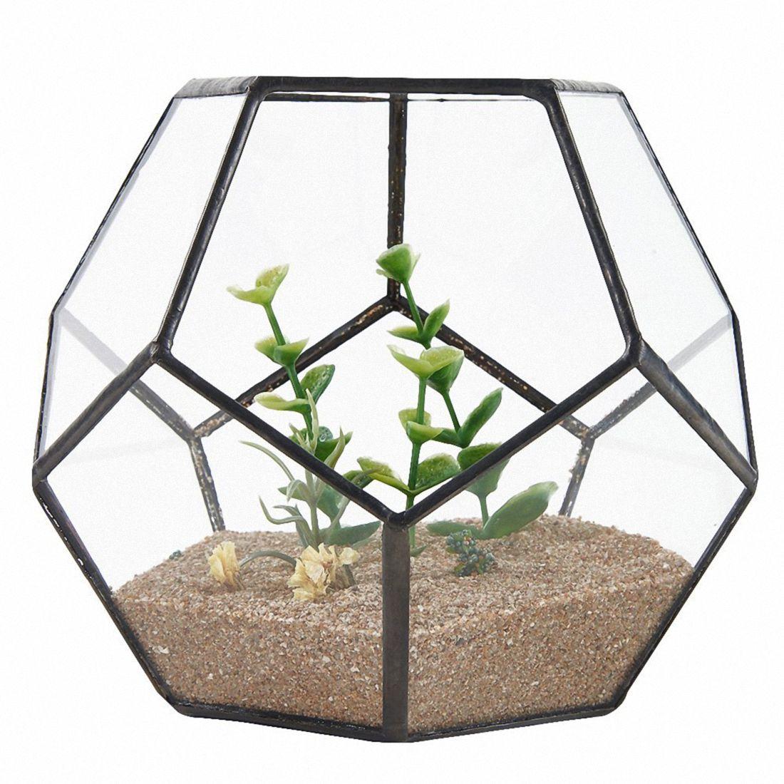 Gran oferta, terrario geométrico de cristal negro pentagonal, contenedor de ventana, alféizar, decoración, maceta, maceta para balcón, caja de exhibición Diy