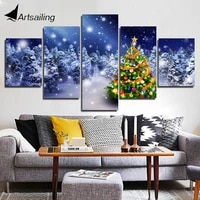 5 piece canvas art painting snow christmas tree wall pictures for living room posters and prints home decoration xa2916c