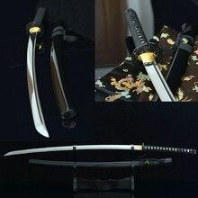 Bushido épées katanas faites à la main katanas samouraï épées japonaises forte katana noir pleine tang ondulé hamon