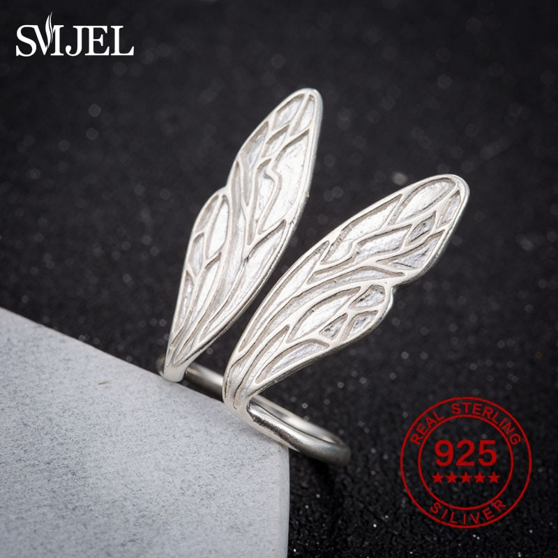 SMJEL 100% 925 anillos de plata esterlina Ajustable alas de Ángel anillos de moda de Corea anillos para las mujeres, anillo Ajustable