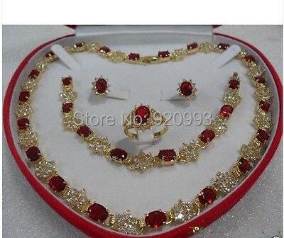 Wholesale***women's gift true red Zircon 14KGP Earring Bracelet Necklace Ring