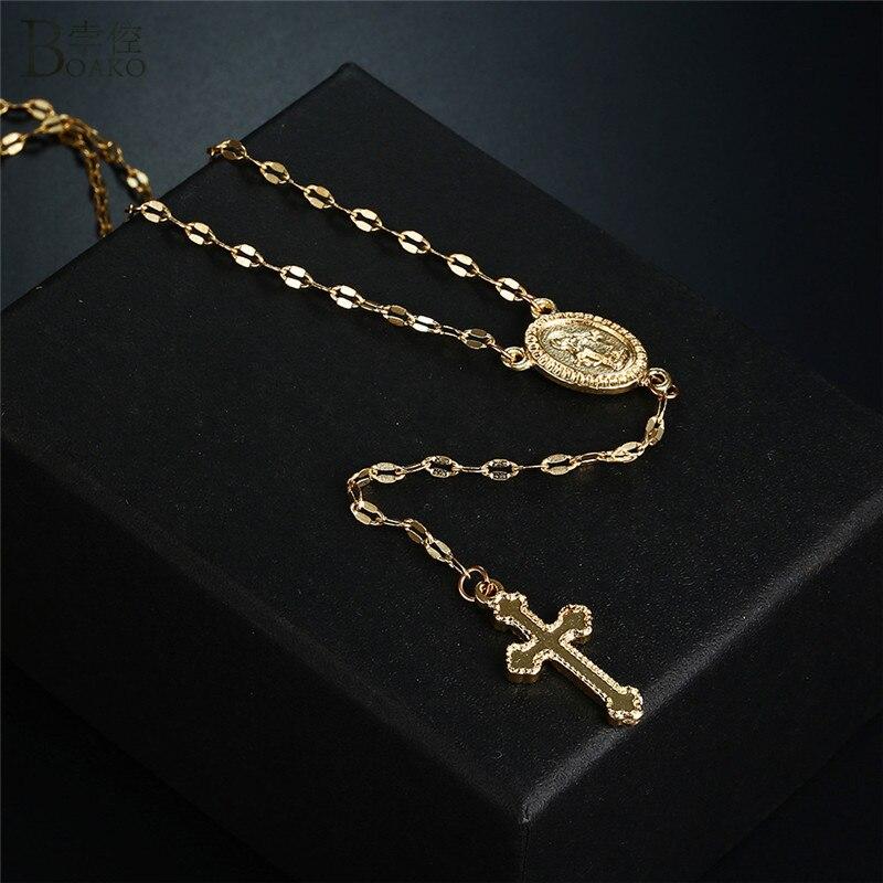 Боако золотой крест кулон ожерелье Розария Мадонна монета ожерелья для женщин Религиозные ювелирные изделия Длинная цепочка под свитер ожерелье