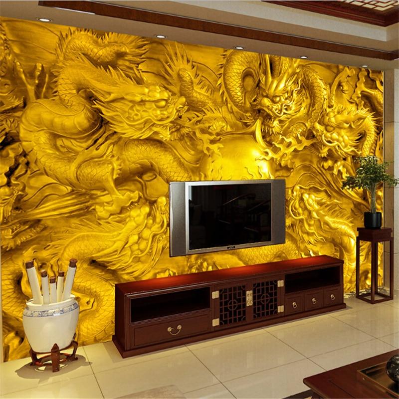 beibehang golden dragon 3d wallpaper custom mural 3 d riches and honor peony water rocks painting photo 3d wall murals wallpaper