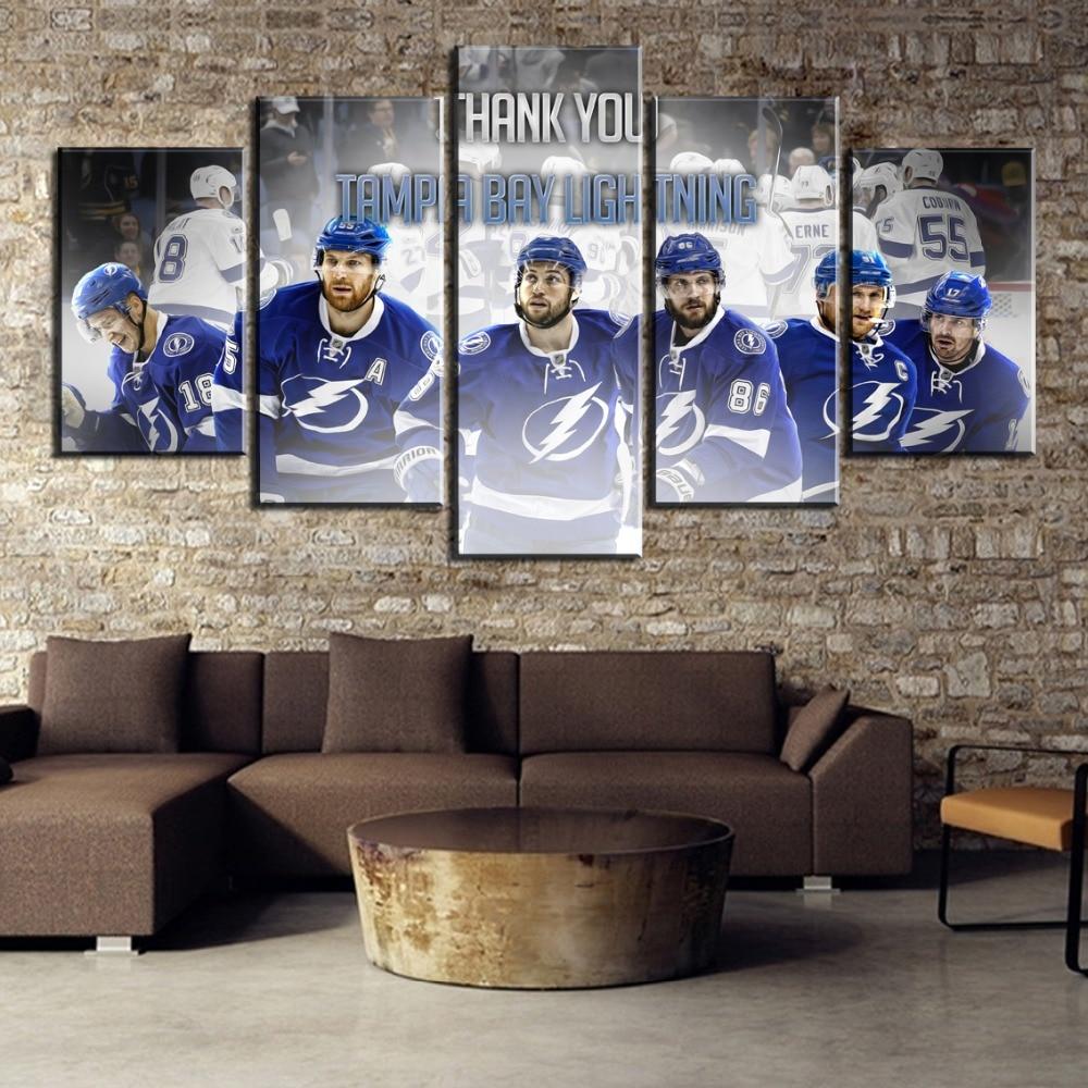 Cuadro en lienzo de 5 piezas, póster del equipo de Hockey sobre hielo, pinturas decorativas modernas sobre lienzo, arte de pared para decoración de decoraciones de pared para el hogar
