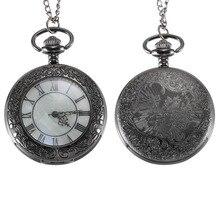 Vintage Quartz montre de poche chiffres romains cadran clair couvercle rabattable en alliage chaîne pendentif montres cadeau LL @ 17