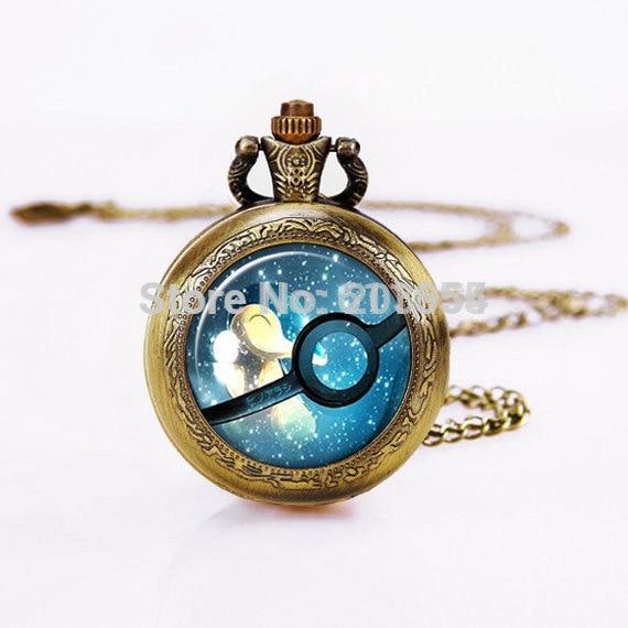 Steampunk Retro 12 unids/lote relojes de bolsillo de cuarzo Pokemon Ball necklace, Vintage Bronzen Pocketwatch. imagen impresa cúpula de vidrio para mujer