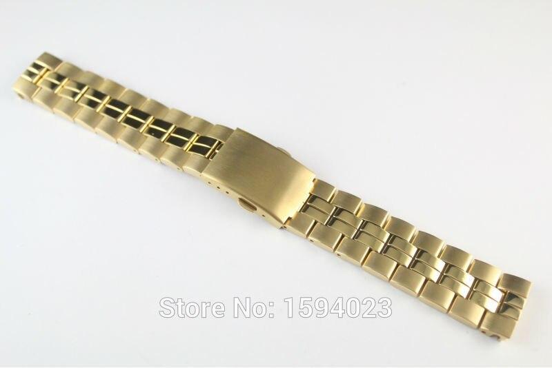 19mm T049410A T049417 T049407 nuevas piezas de reloj modelos masculinos correa de reloj dorada banda de acero inoxidable sólido para T049
