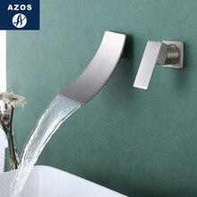 Azos w ścianie kran miękkie umywalka mosiądz chrom zimnej i ciepłej przełącznik obrotowy prysznic bateria umywalkowa z sztuka podwójny uchwyt trzy H