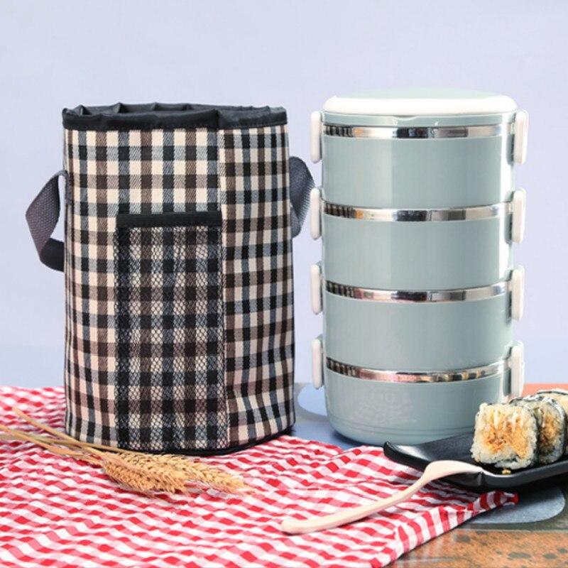 Bolsa de almuerzo redonda, caja de almuerzo con aislamiento térmico de aluminio grueso, bolsa recipiente para alimentos, bolsa de mano