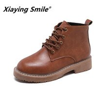 Xiaying 스마일 여성 발목 부츠 새로운 패션 영국 스타일 캐주얼 신발 여성 fleeces 안쪽 antiskid 단독 인기있는 봉제 신발