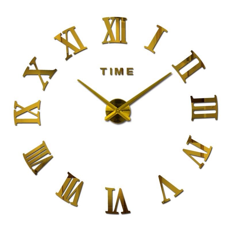 Reloj de pared grande de acrílico con espejo, reloj de cuarzo diy, relojes de una cara, decoración moderna para el hogar, pegatinas romanas circulares para sala de estar