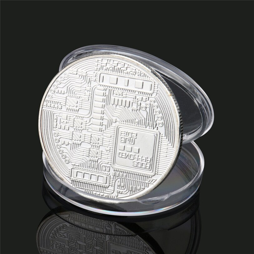 Verzilverd Bitcoin Coin Collectible Gift Casascius Bit Munt Btc Munt Art Collection Fysieke Herdenkingsmunten