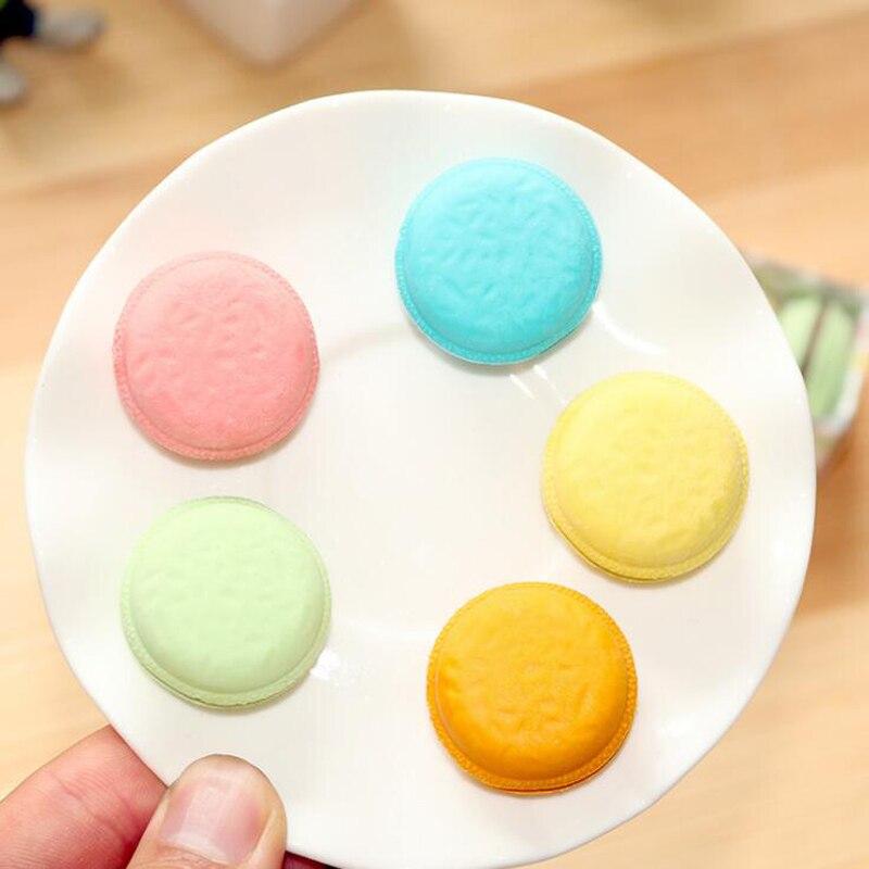 5 pcs/set Creative Novelty  Macaron cake Eraser Learn pencil writing correction supplies  Rubber stationery set Child gift