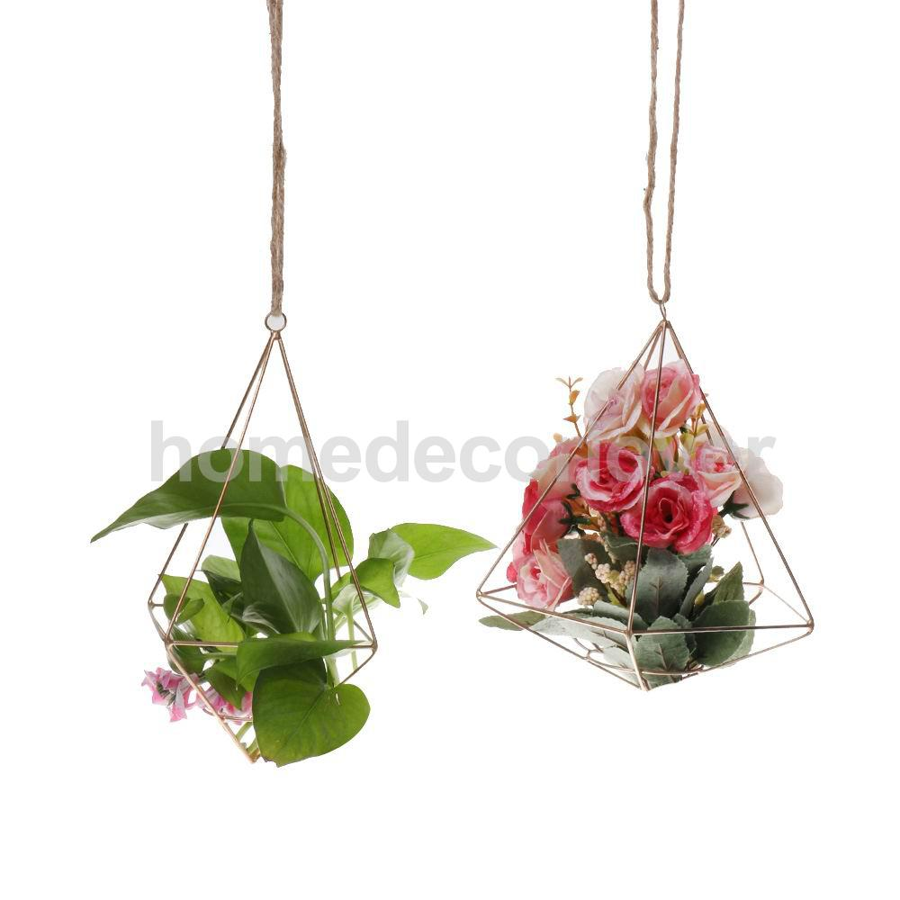 Rustic Style DIY Wedding Home Garden Air Plant Hanging Rack Flower Holder Geometric Planter Christmas Hanger Decoration