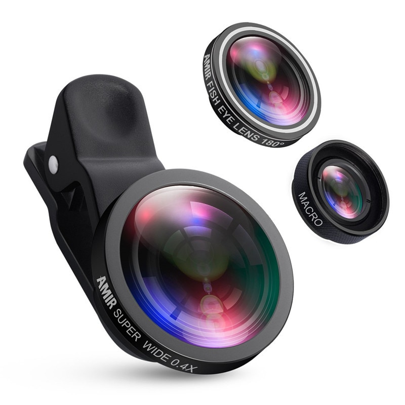 Fisheye Lens Wide Angle Macro Kits Mobile Phone Shooting set3 in 1Fish Eye Lenses with Clip For iPho