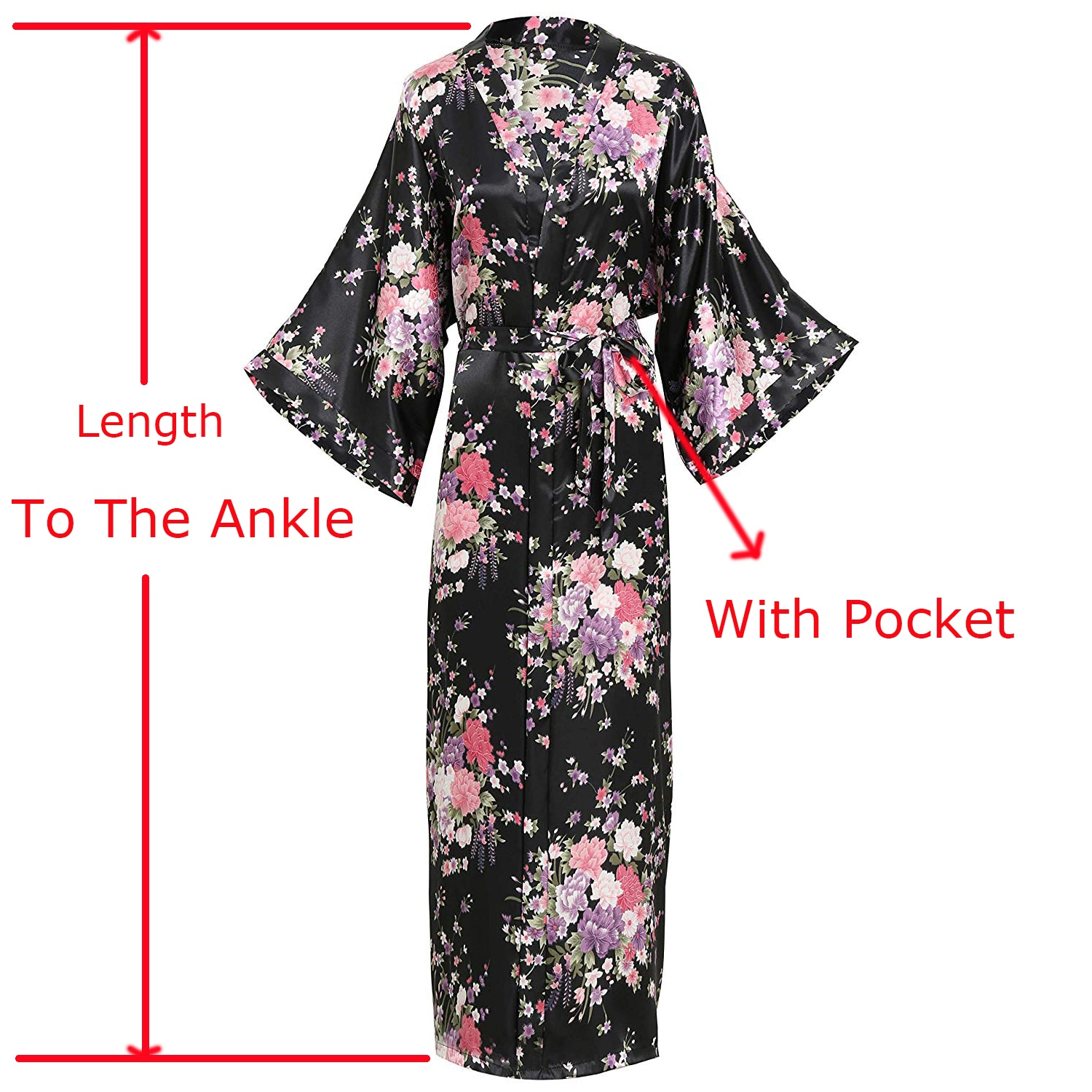 2019 sexy women long robe with pocket wedding bride bridesmaid dressing gown rayon kimono bathrobe large size m xl night dress Rayon Satin Lady Long Robe Print Flower Kimono Bathrobe Casual Sleepwear Home Clothes Plus Size Bride Bridesmaid Dressing Gown