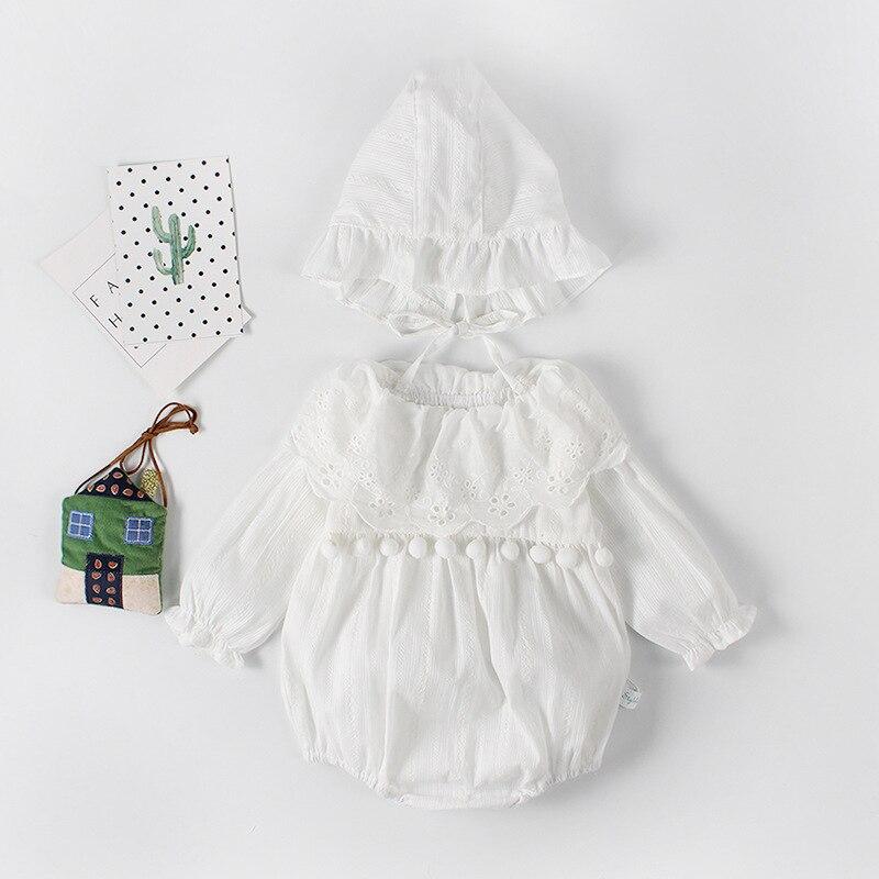Ropa de verano para bebés monos de algodón puro de encaje para niñas con sombrero suave otoño niños pequeños monos de princesa de una pieza