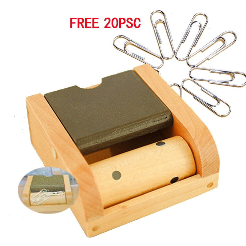 Dispensador de clips de papel de madera, Rueda Magnética, soporte de Clip de oficina, clips de papel, suministros escolares, contenedor, accesorios de escritorio, caja de almacenamiento